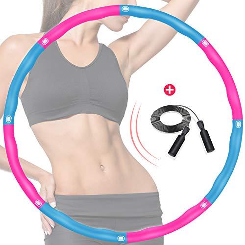 DUTISON Hula Erwachsene Hoop, Fitness Reifen Übung Gewichteter Massage Hoops mit Schaumstoff Einstellbar, 6-8 Knotens Segmente Abnehmbares Größenverstellbares Design für Anfänger - mit Springseil