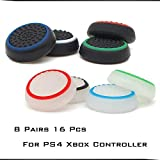8 Pairs Silicone Thumb Grips Protective Cap Compatible for PS5, PS4, PS3, PS2 Xbox One and Switch Pro Controller Joystick to Prevent Slipping More Accuracy