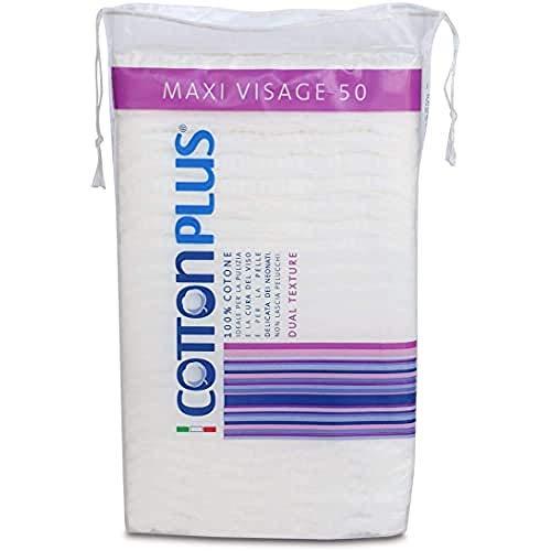 Cotton Plus MAXI VISAGE 50 pz. - LINEA BEAUTY | DISCHETTI PRETAGLIATI 100% PURO COTONE | Dischetti struccanti per la pulizia del viso soffici e resistenti.