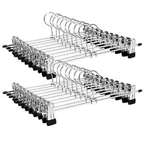 SONGMICS CRI003-20 Metall Kleider-/Hosenbügel, für Hosen, Anti-Rutsch für Röcke Socken, Rockbügel mit Clips, verchromt, 31 x 10,5 cm, 20 Stück