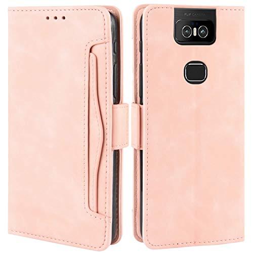 HualuBro Handyhülle für Asus Zenfone 6 ZS630KL Hülle Leder, Flip Hülle Cover Stoßfest Klapphülle Handytasche Schutzhülle für Asus Zenfone 6 6Z ZS630KL 2019 Tasche (Pink)
