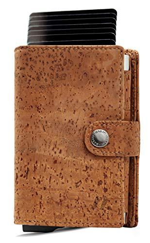 MAGATI Slim Wallet NAGA - Kreditkartenetui mit Münzfach, Geldscheinfach - Geldbörse, Geldbeutel aus Korkleder, Aluminium mit RFID-Schutz - bis zu 12 Karten - Tabakbraun Kork