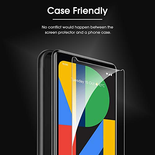 OMOTON [4 Pack] Screen Protector for Google Pixel 4, Tempered Glass/Alignment Frame/Scratch Resistant/Only Cover Display Area