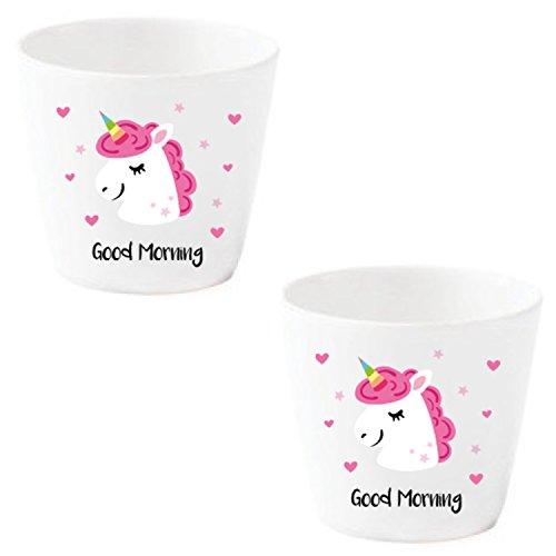 Eierbecher Set Lustig Einhorn weiß Porzellan mit Gesicht *Pink Unicorn* 2 Stück im Geschenk Karton