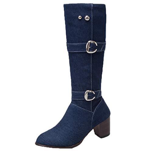 VJGOAL Dameslaarzen, vrouwen boots lang grote maten mode wild dikker hak ritssluiting cowboy lange buis hoge hakken dames boots