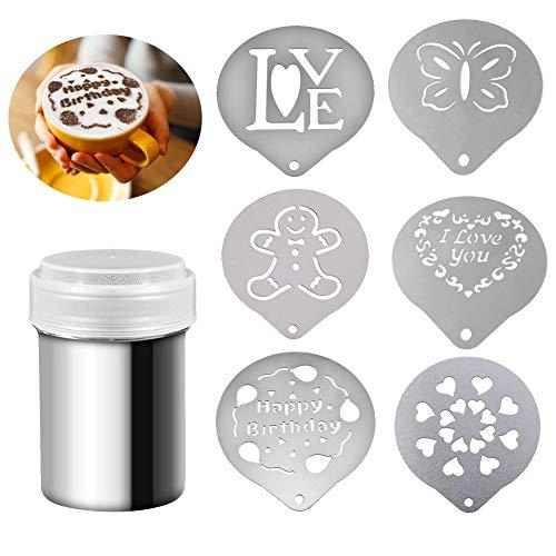 EQLEF Cappuccino Schablonen Edelstahl, Süße Cappuccino-Schablonen mit Schokoladenpulver-Shaker für Puderzucker, Salz, Kakao (7 Stück)