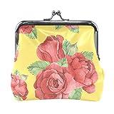 Monedero de piel con estampado de rosas rojas de acuarela, bolso de mano