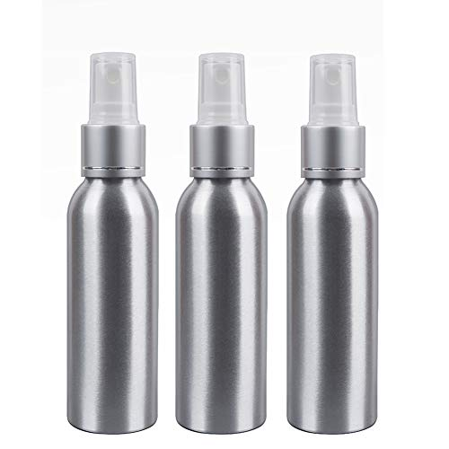 Aluminum Mist Spray Bottles UUJOLY Refillable Perfume Atomiser Beauty Empty pump Bottles Cosmetic Container travel Bottles, Pack of 3 (Silver-100ml/3.4oz)