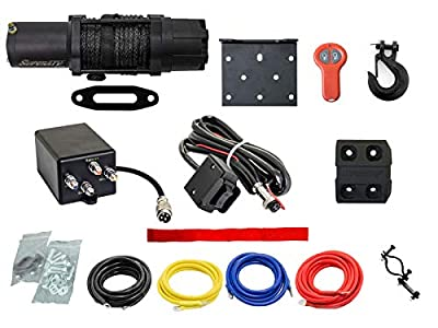 SuperATV 6000 lb Black Ops Winch with Heavy Duty Winch Mounting Plate for 2014+ Honda Pioneer 700/700-4 | Complete kit ready for install!