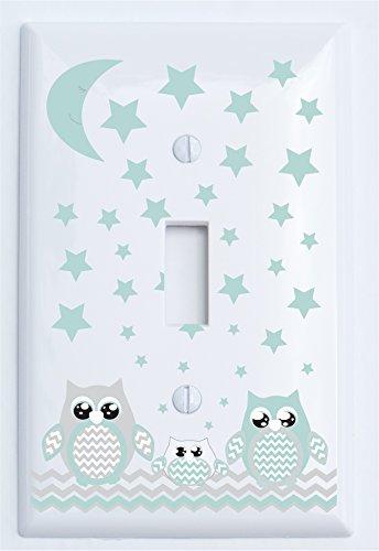Single Toggle Grey and Seafoam Green Owl Light Switch Plate Covers/Owl Nursery Decor (Single Toggle Owl)