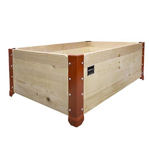 Schroth Home Hochbeet und Blumenkübel aus Holz für Balkon und Garten, rechteckig als Bausatz