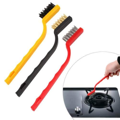 Woogor Set of 3 Pc Mini Wire Brush Cleaning Tool Kit Brass, Nylon, Stainless Steel Bristles, Gas Cleaning Brushes Iron Nylon Copper Wire for Car Kitchen Gas Stove Cleaning Tool