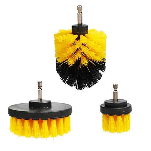 DEFTSHEEP 3 unids 2/3.5/4 '' Cepillo de perforación de frotador eléctrico Pincel de Broca plástico Cepillo de Limpieza Redondo para neumáticos de Vidrio de alfombras Cepillos de Nylon