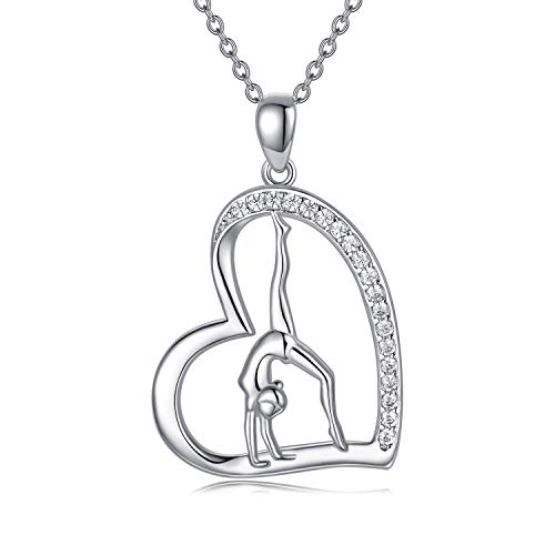 POPKIMI Gymnastics Necklace Gifts for Women 925 Sterling Silver Flipping Gymnast Team Gymnastics Fashion Jewelry Pendant Necklace Ballerina Gymnastics for Women