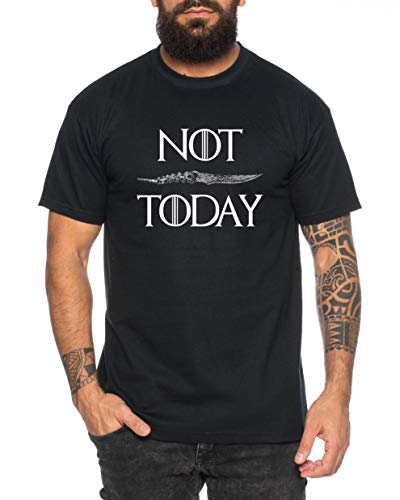 Not Today - Camiseta de Hombre Targaryen Thrones Game of Stark Lannister Baratheon Daenerys Khaleesi TV BLU-Ray DVD, Farbe2:Azul Oscuro, Größe2:Medium