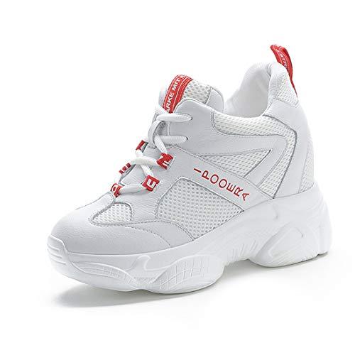 tqgold® Sneaker mit Keilabsatz Damen Bequeme Atmungsaktiv Sportschuhe Turnschuhe Wedges Freizeitschuhe Keilabsatz 8cm(Weiß,Groß 36)