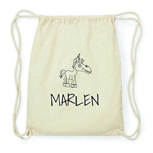 JOllipets Marlen Hipster Turnbeutel Tasche Rucksack aus Baumwolle – Design: Pferd - Farbe: Natur
