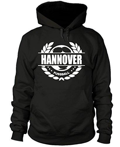 shirtloge - Hannover - Fussball Lorbeerkranz - Fan Kapuzenpullover - Schwarz - Größe XXL