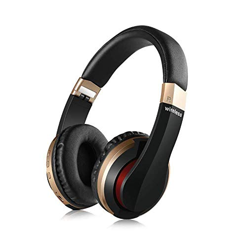LG Snow Wireless Bluetooth Headset 5.0, Faltbares Gaming Headset Mit Eingebautem Mikrofon, USB-Lade, Stereo Sport Bluetooth Headset (erhältlich In Vier Farben) (Color : Black Gold)