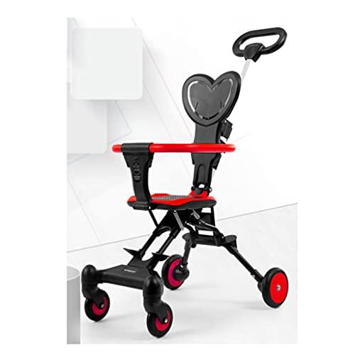 jiji sillas de Paseo Cochecito de bebé, cochecitos Reversibles compactos Plegables de la Rueda Delantera Amortiguador de Amortiguador con cinturón de Seguridad con Dosel Grande Cochecito de bebé