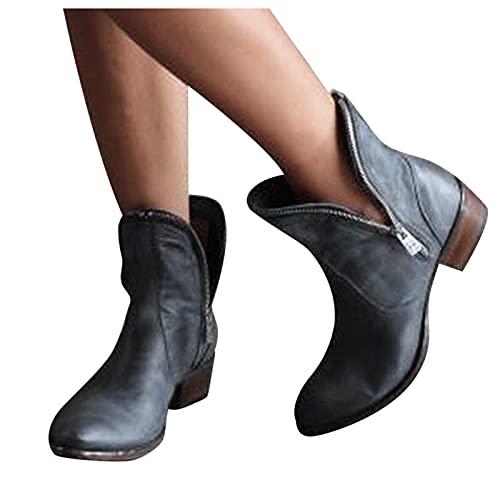 Dasongff Botines cortos para mujer con...