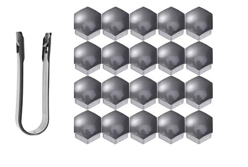 VORCOOL 21 in 1 Sechskant Radmutter Abdeckungen Schrauben Abdeckungen Schraube Schützen Kappen 21mm mit Clips (Grau)
