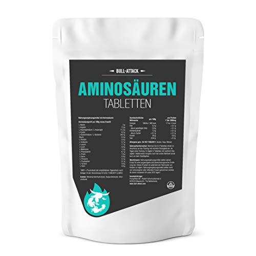 AMINOSÄUREN TABLETTEN von Bull Attack | 1000 (2 x 500) Tabletten hochdosierter Aminosäuren Komplex Vorratspackung á 1000mg | Alle 18 Aminos für eine optimale Rundum Versorgung der Muskulatur auch in der Diät - Top Qualität