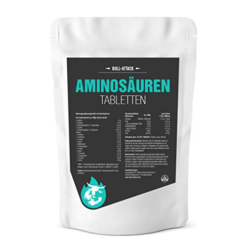 AMINOSÄUREN TABLETTEN von Bull Attack   1000 (2 x 500) Tabletten hochdosierter Aminosäuren Komplex Vorratspackung á 1000mg   Alle 18 Aminos für eine optimale Rundum Versorgung der Muskulatur auch in der Diät - Top Qualität