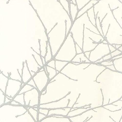 Casadeco 16960134 Papel pintado con ramas modernas de brillo plateado y fondo color blanco