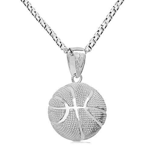 Lorsoul Shaped Basketball Halskette Liebhaber Anhänger Runde Gold-Silber-Halskette Paar Kette Männer Frauen Geschenk Schmuck