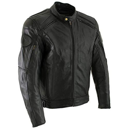 Xelement B7366 'Executioner' Men's Black Leather Racer Jacket with X-Armor Protection - 2X-Large