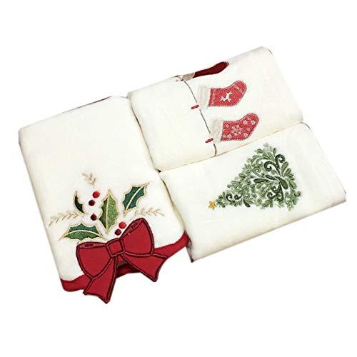 TOOGOO Serie de Navidad Toallas de AlgodóN Campanas de Navidad Toallas de Medias de áRbol de Navidad DecoracióN de Toallas Toallas Bordadas de Regalos Toallas
