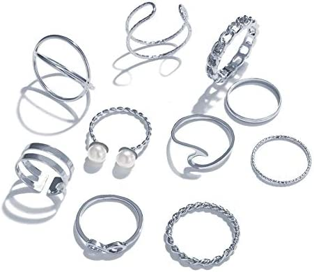 10 Pcs Vintage Knuckle Stackable Rings Set for Women Bohemian Gold Silver Plated Comfort Fit product image