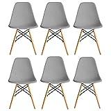 Juego de 6 sillas de comedor de plástico moderno de mediados de siglo, para comedor, sala de estar, cocina, dormitorio, fácil de montar (gris)