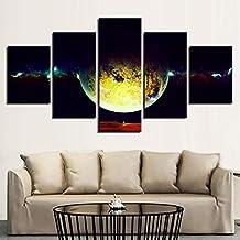WMWSH Modern Wall Art Fotos del Planeta Tierra HD Impreso Wall Canvas Photos Decoración del Hogar 5 Panel Pinturas Modulares Sala De Estar Apartamento Combinación Pintura De Pared