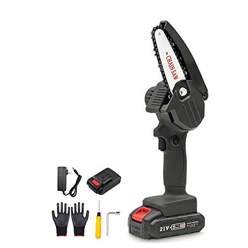 Mini sega elettrica, motosega portatile a batteria con caricatore e 2 batterie, sega elettrica per potatura, velocità di taglio regolabile per taglio del legno, potatura di alberi e giardino,Rojo