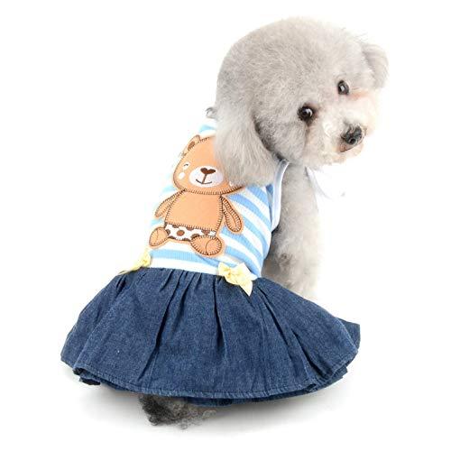 SELMAI Bär gestreiftes Shirt Prinzessin sonnkleid für kleine Hunde Katzen Welpen Sommerkleid Outfits Stufenrock Party Kostüm Yorkie Chihuahua Shih Tzu Kleidung