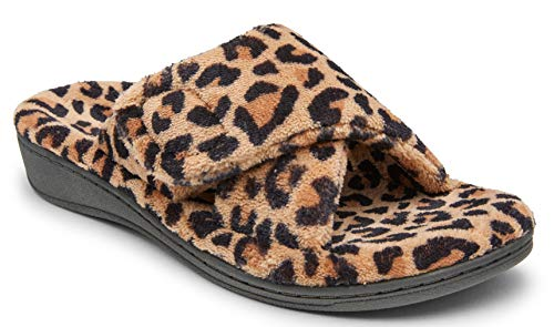 Vionic Women's Indulge Relax Slipper - Ladies Comfortable Cozy Adjustable House Slippers with Concealed Orthotic Arch Support Leopard Natural 8 Medium US