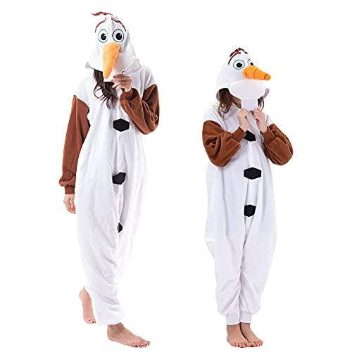 Beauty Shine Adult Unisex Cartoon Onesie Pajamas Cosplay Halloween Christmas Sleepwear Jumpsuit Costume (Olaf, Small)