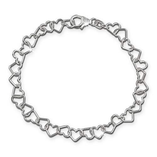 Pulsera de mujer de 19cm, corazones de plata de ley 925,joyería femenina SDA2529J, de SilberDream