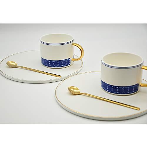 Home & Trends Griechische hochwertige Kaffeetassen Porzellan mit Unterteller 6-TLG. je 6 cm hoch 2-Muster Sortiert griechische Blau Weiss