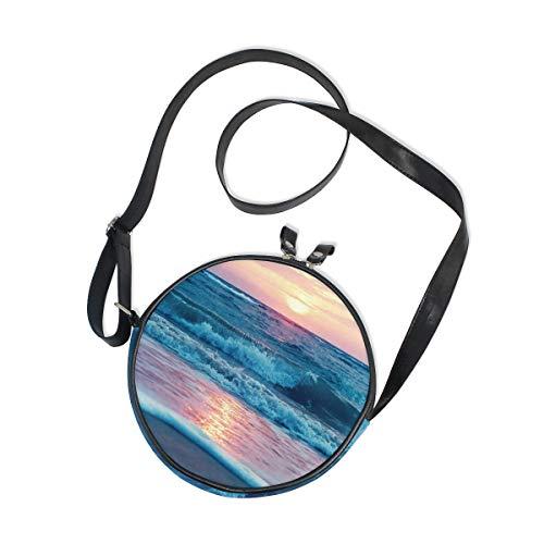 Ahomy Runde Tasche klein für Frauen – Ozean Meer Strand Welle Sonne Wolke Landschaft Landschaft Natur Damen Mode Crossbody Tasche Schultertasche
