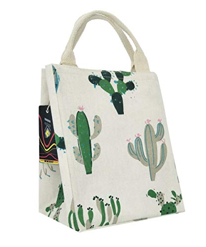 HKEC Reusable Lunch Bag Insulated Lunch Box Cute Canvas Fabric with Aluminum Foil, Lunch Box Tote for Women/Picnic/Boating/Beach/Fishing/Work(Green and Gray Cactus)