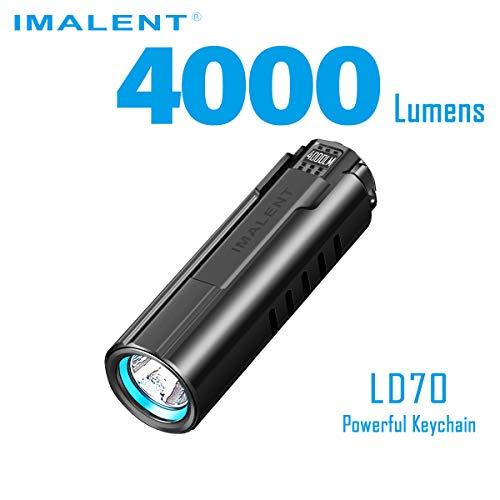 IMALENT LD70 EDC linterna LED recargable de alto rendimiento, 4000 lúmenes, utiliza CREE XHP70.2 LED, con pantalla OLED 6 niveles de corrección para camping y senderismo, negro