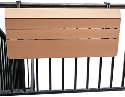 keduoduo Mesa de la barandilla Colgante Resistente a la corrosión Hardwood de Aluminio Grueso Mesa de Metal Plegable Pequeño balcón Muebles de Ocio Mesa de Mesa de Mesa,60 * 37CM