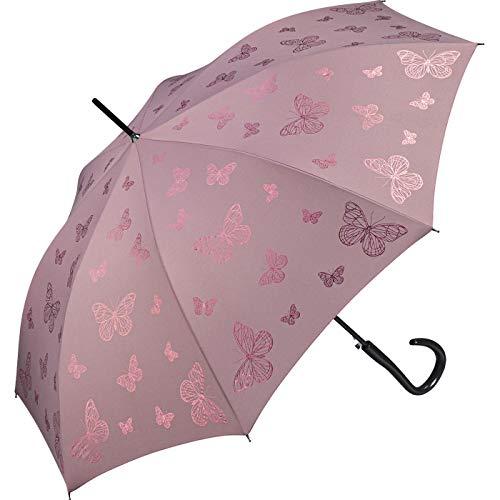 Pierre Cardin Damen Regenschirm Stockschirm mit Automatik Papillion metallique mit metallic Schmetterlingen