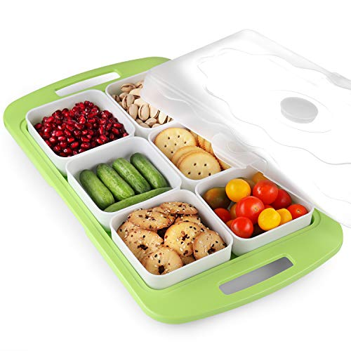 6 Compartment Veggie Tray - Snack Tray with Lid – Plastic Fruit Tray with Cover - Appetizer Serving Platter – vegetable Party Tray with Looking Lid – Party Platter Great for all Parties, BBQ, Picnics, and More