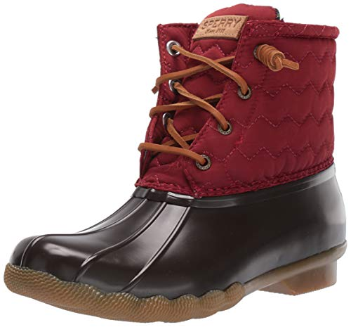 Sperry Womens Saltwater Chevron Quilt Nylon Boots, Wine, 6.5