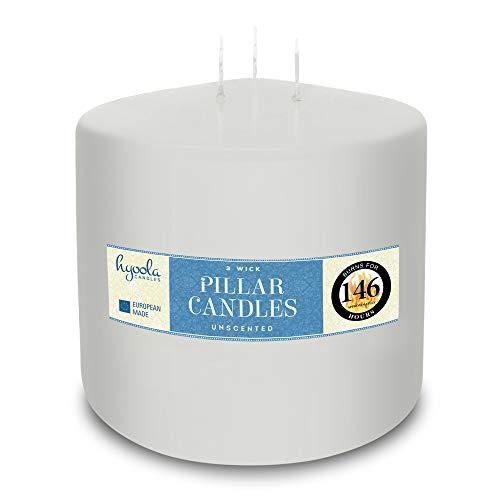 Hyoolo 3 Docht Große Kerze 150mm X 150 mm - 146 Stunden Brenndauer - Weiß - Unparfümiert Stumpenkerzen