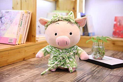 JIAL Yangll 1 stück 30 cm Kawaii Paar Sitzen Pyjama Schwein Plüschtier Schöne Dressing Nachthemd Tier Schwein Puppen GEFÜLLTE Spielzeug Kinder Geschenke (GRÜN) Chongxiang